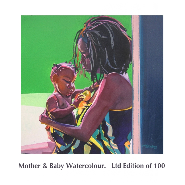Mother & Baby watercolour