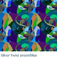Silver Twist  green blue fabric