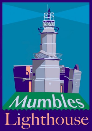 mumbles lighthouse postcard small