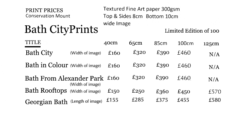 price list prints Bath Prints