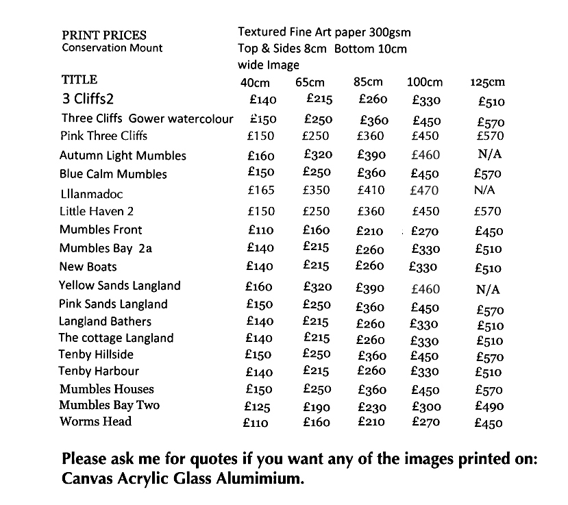 price list prints Welsh Prints